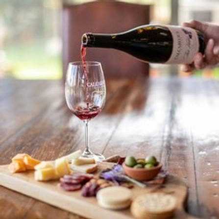 Pouring a glass of wine with a gourmet cheese plate at Calcareous Vineyard Winery in Paso Robles