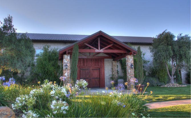 Entrance to the tasting room at Calcareous Vineyard in Paso Robles, CA