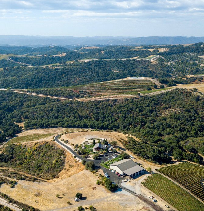 An aerial view of Calcareous Vineyard Winery in Paso Robles, CA